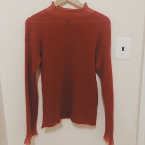 Express semi sheer funnel red neck sweater